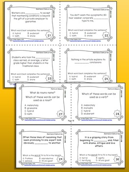 72 Task Cards 8 Worksheets Middle Grade Vocabulary Skills