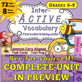 72 Task Cards 8 Worksheets Middle Grade Vocabulary Skills