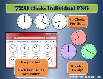 720 Analog Clocks - 1 minute intervals - Clip Art