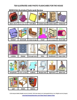 720 Illustrated and Photo Flashcards for a House