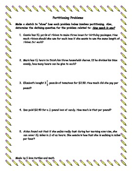7.2B Partitioning Word Problems for 7th grade math students