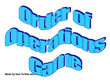 7.2e Order of Operations Game for 7th graders