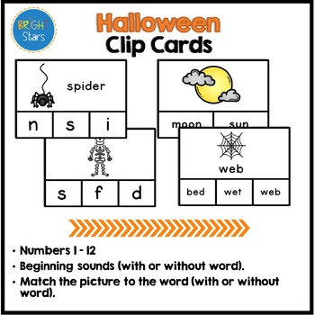 73 Halloween Clip Cards with Answers