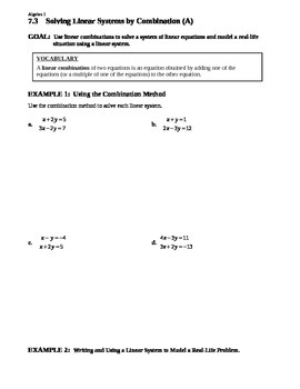 7.3 Solving Linear Systems by Combination (Day 1)