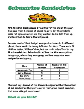 Math Stations:  Fractions and word problems