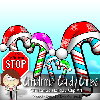 74 Colorful Christmas Candy Canes w/ Hats {The Teacher Stop}