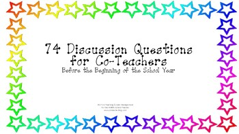 74 Discussion Questions for Co-Teachers Before the School Year Starts