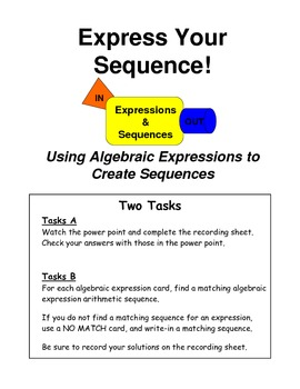 7.4c Express your sequence Making Algebraic Expressions 7th grade Math
