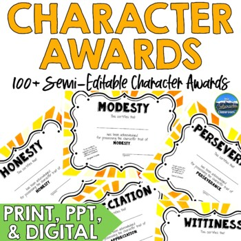 Character Award Certificates - Gold - 100+   Digital and Paper Versions