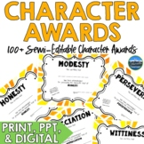 Character Award Certificates Gold   Digital and Paper Vers