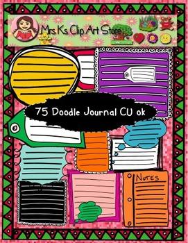 75 Colorful Doodle Journals CU OK