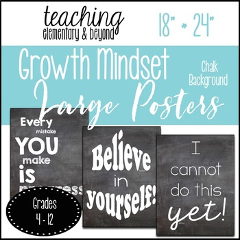 "75 Large Chalk Growth Mindset Posters {18"" * 24""}"