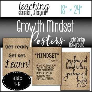 "75 Growth Mindset Posters {Large 18"" * 24"" Light Burlap Background}"