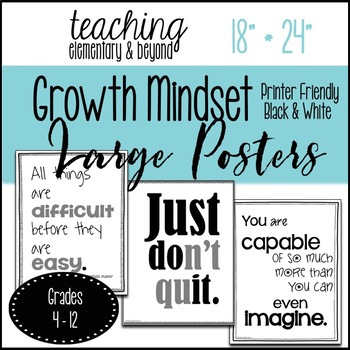 "Printer Friendly Black and White 75 Growth Mindset Large Posters 18"" * 24"""