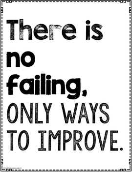 """Printer Friendly Black and White Large 75 Growth Mindset Posters {18"""" * 24""""}"""
