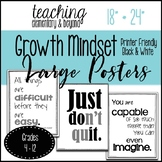 "Printer Friendly Black and White Large 75 Growth Mindset Posters {18"" * 24""}"