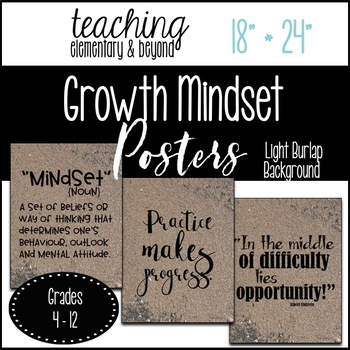 """75 Growth Mindset Posters {Large 18"""" * 24"""" Sand Background}"""