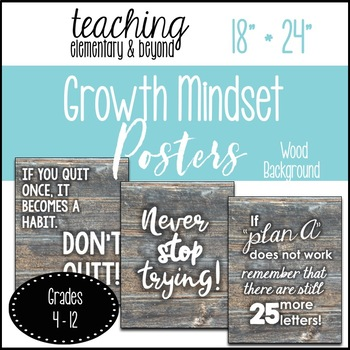 """75 Growth Mindset Posters {Large 18"""" * 24"""" Wooden Background}"""