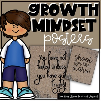 75 Growth Mindset Posters with a Sand Background