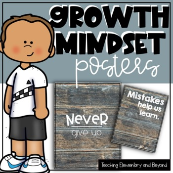 75 Growth Mindset Posters with a Wooden Background