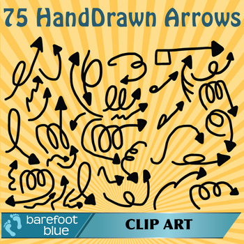 75 Hand Drawn Clipart Fun Arrows, Transparent PNGs