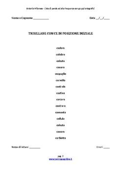 75 Liste con gruppi ortografici CE/CHE CI/CHI SCE/SCHE SCI/SCHI GN e GL