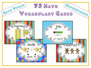 75 Math Vocabulary Word Cards for Word Wall w Pictures & Definitions Common Core