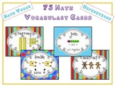 75 Math Vocabulary Word Cards for Word Wall w Pictures & D