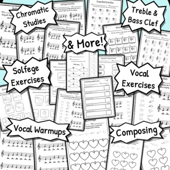 75 Solfege Worksheets - Tests Quizzes Homework Reviews or Sub Work for Choir!