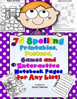 75 Spelling Printables, Posters, Games and Interactive Notebook Pages  Any List