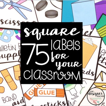 75 Square Labels For Your Classroom-- Fits Target Dollar S