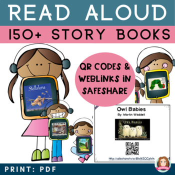 150 Story Time Read Aloud Picture Books with QR Codes Cards