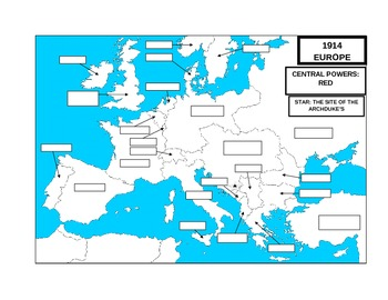 UNIT 11 LESSON 1c. WWI#1: 1914 Europe BLANK MAP | TpT