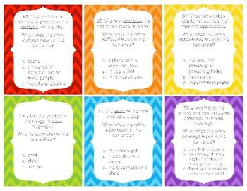 Vocabulary Task Card Activity Set - Grades 3-6