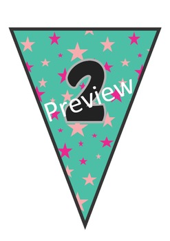 76 Blue and Pink Stars Banners for classroom decoration, parties and much more!