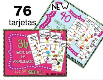 76 Cartas de vocabulario en español 1 y 2 -  BUNDLE