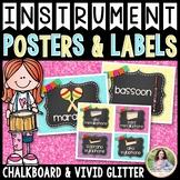 Musical Instrument Labels, Flash Cards, Sorting {Chalkboard & Vivid Glitter}