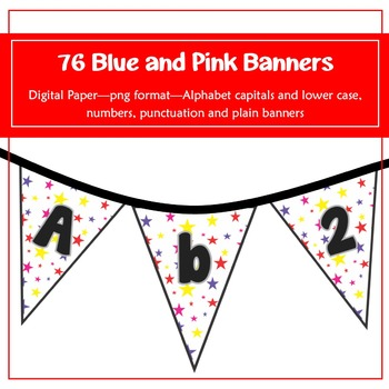 76 Rainbow Stars Banners for classroom decoration, parties