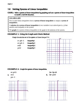 7.6 Solving Systems of Linear Inequalities