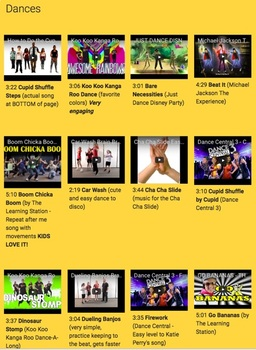 85 Dances & Brain Breaks - YouTube Video Links for Video Clips and Songs