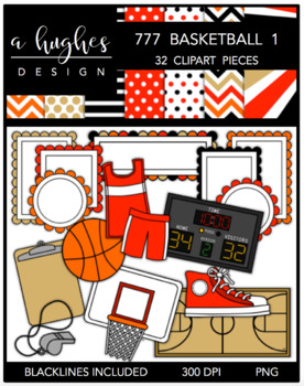 777 Basketball Clipart Bundle 1 {A Hughes Design}