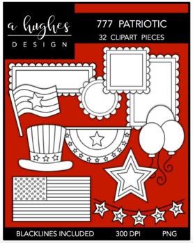 777 Patriotic Clipart Bundle {A Hughes Design}