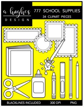 777 School Supplies Clipart Bundle {A Hughes Design}