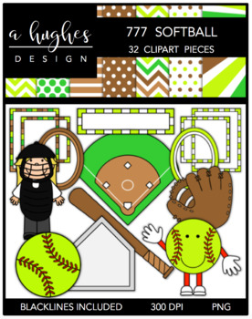 777 Softball Clipart Bundle {A Hughes Design}