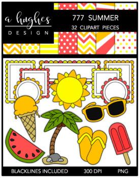 777 Summer Clipart Bundle {A Hughes Design}