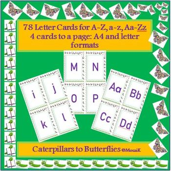 78 alphabet cards for various activities; Letters in 3 styles: a, A, Aa