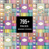 795 Pages Editable Binder Cover Bundle, Rainbow Patterns a
