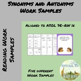 7E-RW 1e Synonyms and Antonyms Work Samples- VAAP!