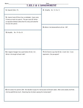 7.EE Common Core Assessments/Tests - ALL Standards