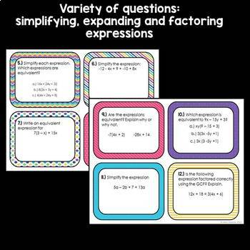 7.EE.1 Expressions Task Cards: Simplifying, Expanding and Factoring
